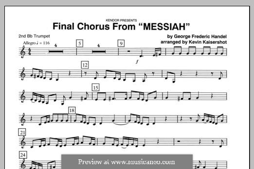 Final Chorus (Blessing and Honour, Glory and Power Unto Him): 2nd Bb Trumpet part by Georg Friedrich Händel