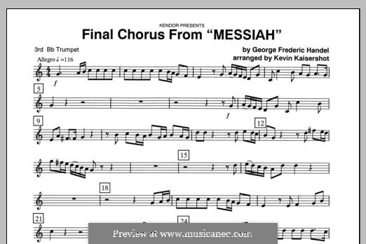 Final Chorus (Blessing and Honour, Glory and Power Unto Him): 3rd Bb Trumpet part by Georg Friedrich Händel