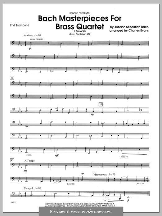 Bach Masterpieces for Brass Quartet: 2nd Trombone part by Johann Sebastian Bach