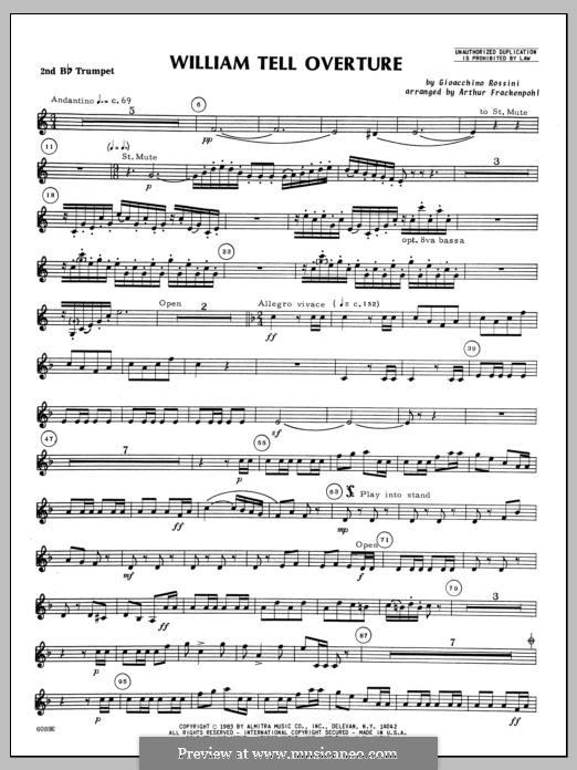 Overture (Printable Scores): For winds – 2nd Bb Trumpet part by Gioacchino Rossini