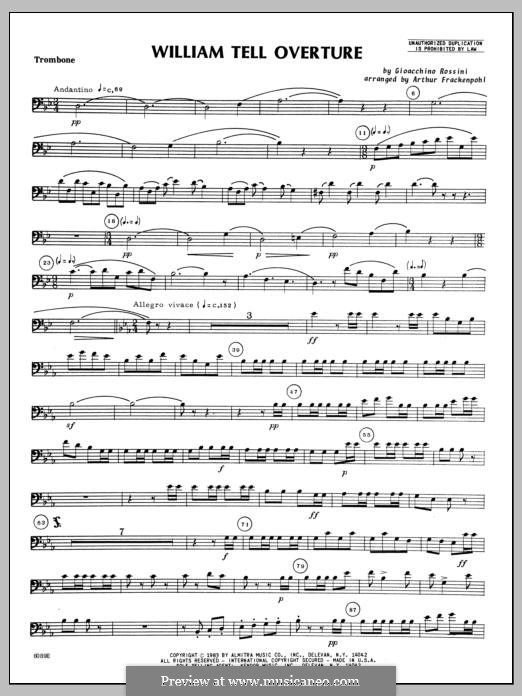 Overture (Printable Scores): For winds – Trombone part by Gioacchino Rossini