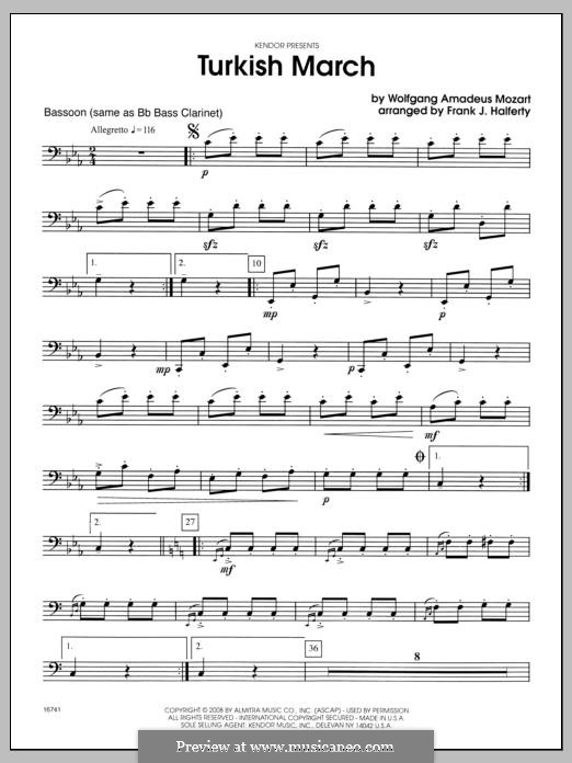 Rondo alla turca (Printable Scores): For winds - Bassoon part by Wolfgang Amadeus Mozart