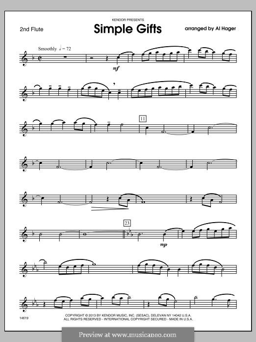 Simple Gifts: 2nd Flute part by folklore
