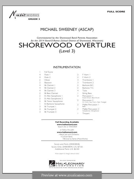 Shorewood Overture (for Multi-level Combined Bands) Level 3: partitura completa by Michael Sweeney