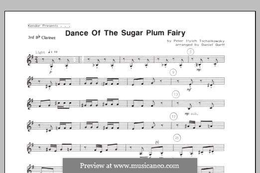 No.3 Dance of the Sugar-Plum Fairy: For quartet clarinets – 3rd Bb Clarinet part by Pyotr Tchaikovsky