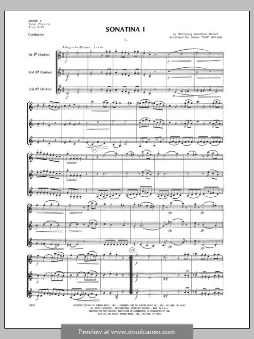 Sonatina for Piano in C Major: For clarinets - full score by Wolfgang Amadeus Mozart