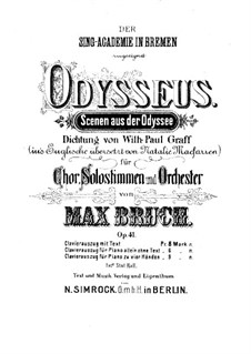 Odysseus, Op.41: Introduction, for Piano Four Hands by Max Bruch