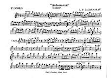 Automania. Galop for Cornet and Orchestra: parte flauta piccolo by Louis-Philippe Laurendeau