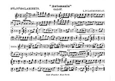 Automania. Galop for Cornet and Orchestra: Clarinets in B II-III part by Louis-Philippe Laurendeau