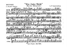 The Cake Walk for Cornet and Orchestra: parte flauta piccolo by Louis-Philippe Laurendeau