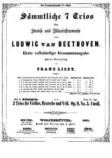 String Trio No.5 in C Minor, Op.9 No.3: parte do violino by Ludwig van Beethoven