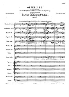 Sacrificial Song, Op.121b: Sacrificial Song by Ludwig van Beethoven