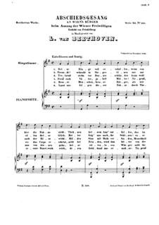 Abschiedsgesang an Wiens Bürger (Farewell Song to the Citizens of Vienna), WoO 121: Abschiedsgesang an Wiens Bürger (Farewell Song to the Citizens of Vienna) by Ludwig van Beethoven