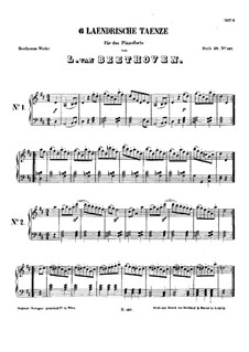 Six Ländler for Two Violins and Cello, WoO 15: Complete set, for piano by Ludwig van Beethoven