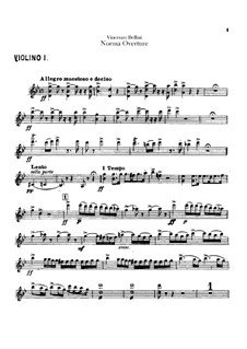 Overture: parte violinos by Vincenzo Bellini