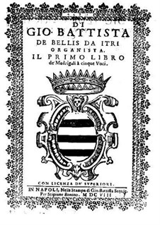 Madrigals for Five Voices: Book I – contralto part by Giovanni Battista de Bellis