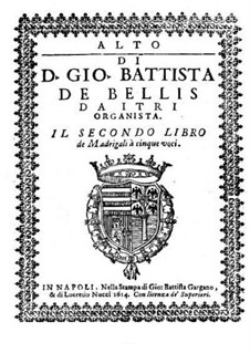 Madrigals for Five Voices: Book II – contralto part by Giovanni Battista de Bellis