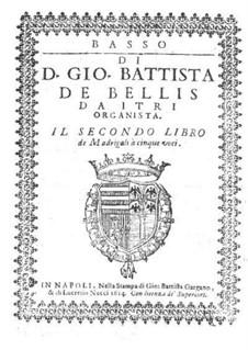 Madrigals for Five Voices: Book II – bass part by Giovanni Battista de Bellis