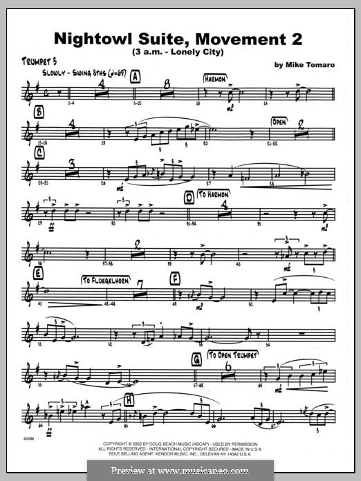 Nightowl Suite, Mvt. 2 (3 a.m. - Lonely City): 3rd Bb Trumpet part by Mike Tomaro