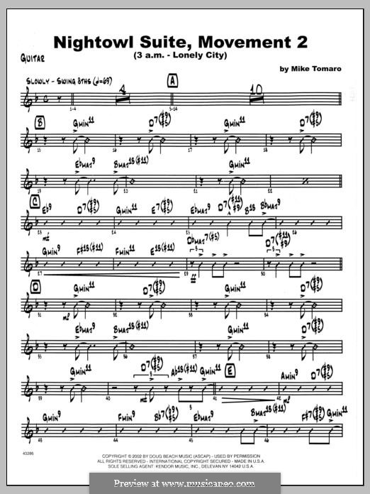 Nightowl Suite, Mvt. 2 (3 a.m. - Lonely City): parte Guitarra by Mike Tomaro