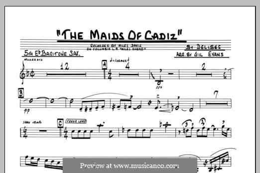 Les filles de Cadix: Eb Baritone Sax part by Léo Delibes