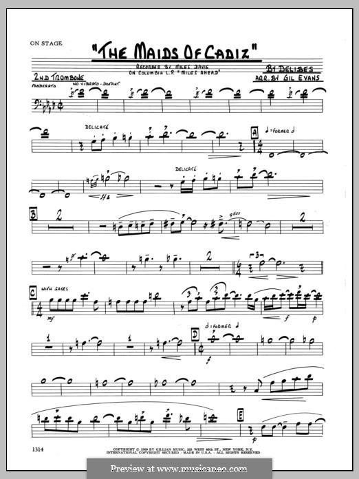 Les filles de Cadix: 2nd Trombone part by Léo Delibes