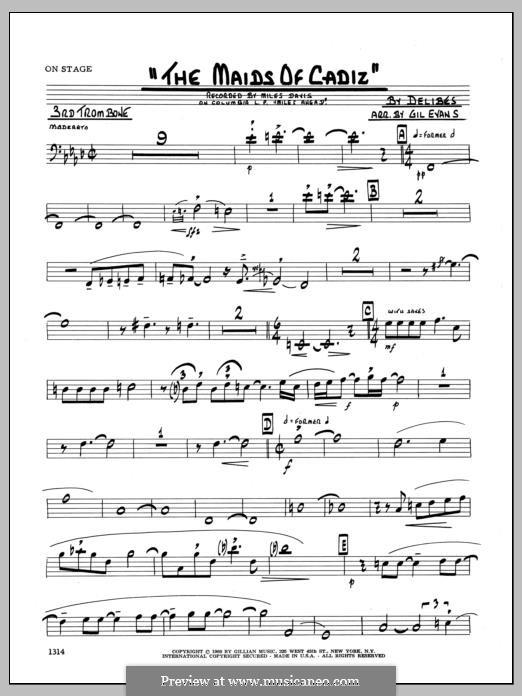 Les filles de Cadix: 3rd Trombone part by Léo Delibes