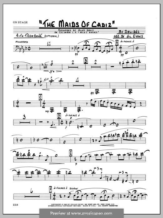 Les filles de Cadix: 4th Trombone part by Léo Delibes