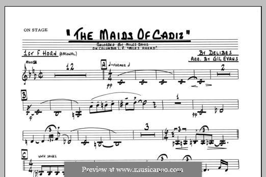 Les filles de Cadix: 1st F Horn part by Léo Delibes
