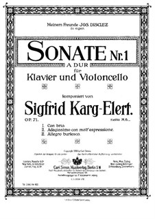 Sonata for Cello and Piano No.1 in A Major, Op.71: Score by Sigfrid Karg-Elert