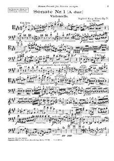 Sonata for Cello and Piano No.1 in A Major, Op.71: Parte de solo by Sigfrid Karg-Elert
