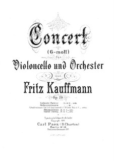 Concerto in G Minor for Cello and Orchestra, Op.29: Concerto in G Minor for Cello and Orchestra by Fritz Kauffmann