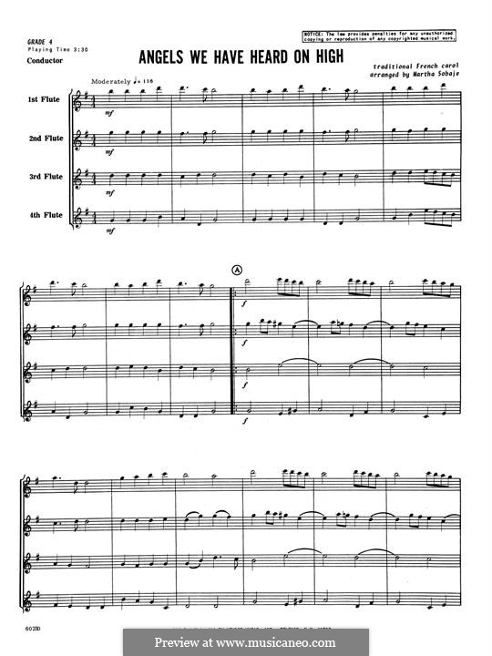 Angels We Have Heard on High: For quartet flutes – full score by folklore