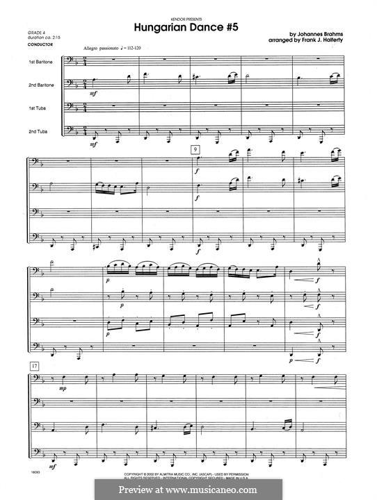 Dance No.5 in F Sharp Minor (Printable scores): For wind quartet – full score by Johannes Brahms