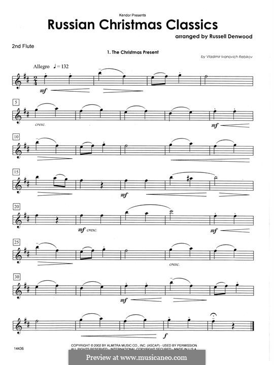 Russian Christmas Classics: 2nd Flute part by Vladimir Ivanovich Rebikov