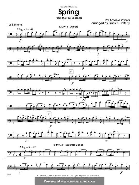 Violin Concerto No.1 in E Major 'La primavera' (Printable Scores): Movement 1 Allegro, for wind quartet – 1st Baritone B.C. part by Antonio Vivaldi