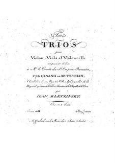 Three String Trios, Op.4: parte violoncelo by Jan Baptysta Kleczyński