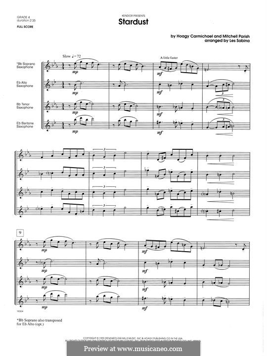 Stardust (Frank Sinatra): For saxophones - full score by Hoagy Carmichael