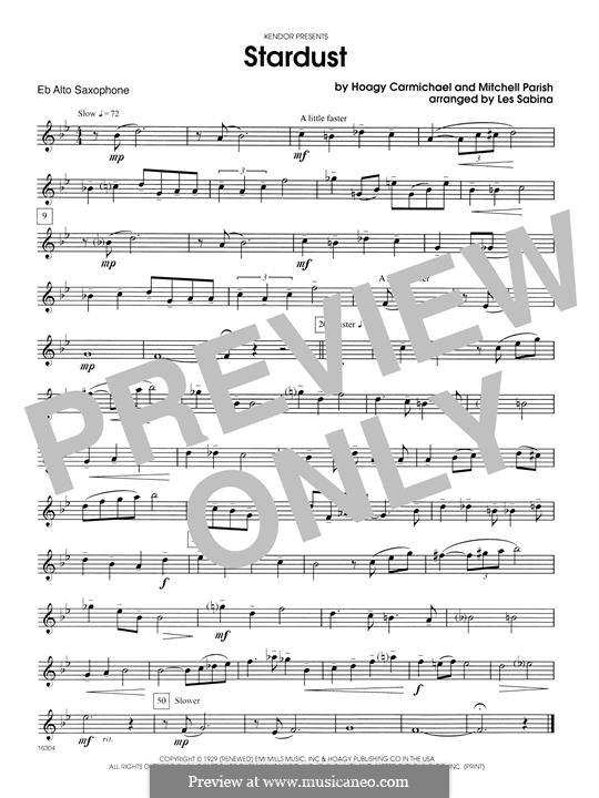 Stardust (Frank Sinatra): For saxophones - Eb Alto Saxophone part by Hoagy Carmichael