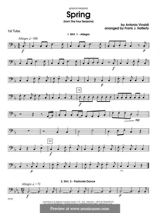 Violin Concerto No.1 in E Major 'La primavera' (Printable Scores): Movement 1 Allegro, for wind quartet – Tuba 1 part by Antonio Vivaldi