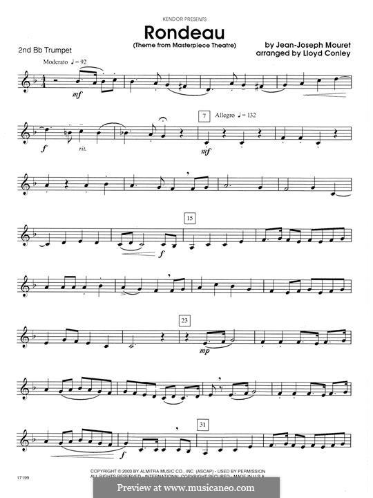 Rondo (Rondeau): For trio trumpets – 2nd Bb Trumpet part by Jean-Joseph Mouret