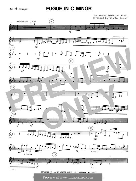 Prelude and Fugue No.2 in C Minor, BWV 847: For quartet trumpets – 3rd Bb Trumpet by Johann Sebastian Bach