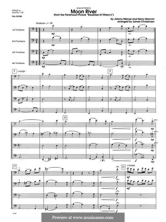Moon River (from Breakfast at Tiffany's): For quartet trombones – full score by Henry Mancini