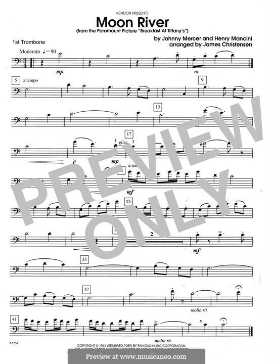 Moon River (from Breakfast at Tiffany's): For quartet trombones – 1st Trombone by Henry Mancini