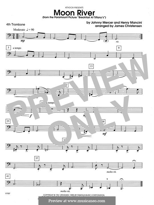 Moon River (from Breakfast at Tiffany's): For quartet trombones – 4th Trombone by Henry Mancini