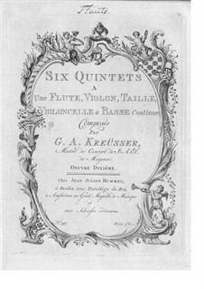 Six Quintets for Flute, Oboe, Strings and Basso Continuo, Op.10: partes by Georg Anton Kreusser