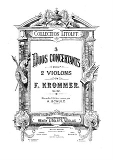 Three Duos for Two Violins, Op.22: Partes by Franz Krommer