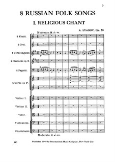 Eight Russian Folksongs for Orchestra, Op.58: partitura completa by Anatoly Lyadov