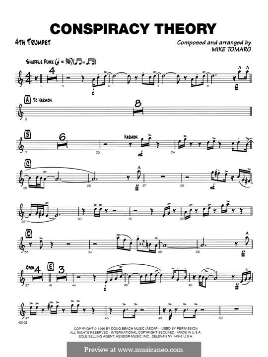 Conspiracy Theory: 4th Bb Trumpet part by Mike Tomaro
