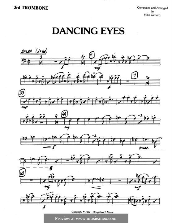 Dancing Eyes: 3rd Trombone part by Mike Tomaro